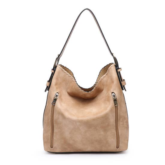 Tan Distressed Carry Hobo Bag