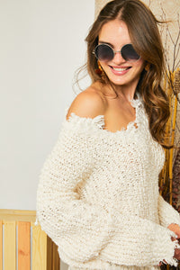 Ivory Distressed Sweater