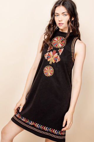 Embroidered Neck Dress