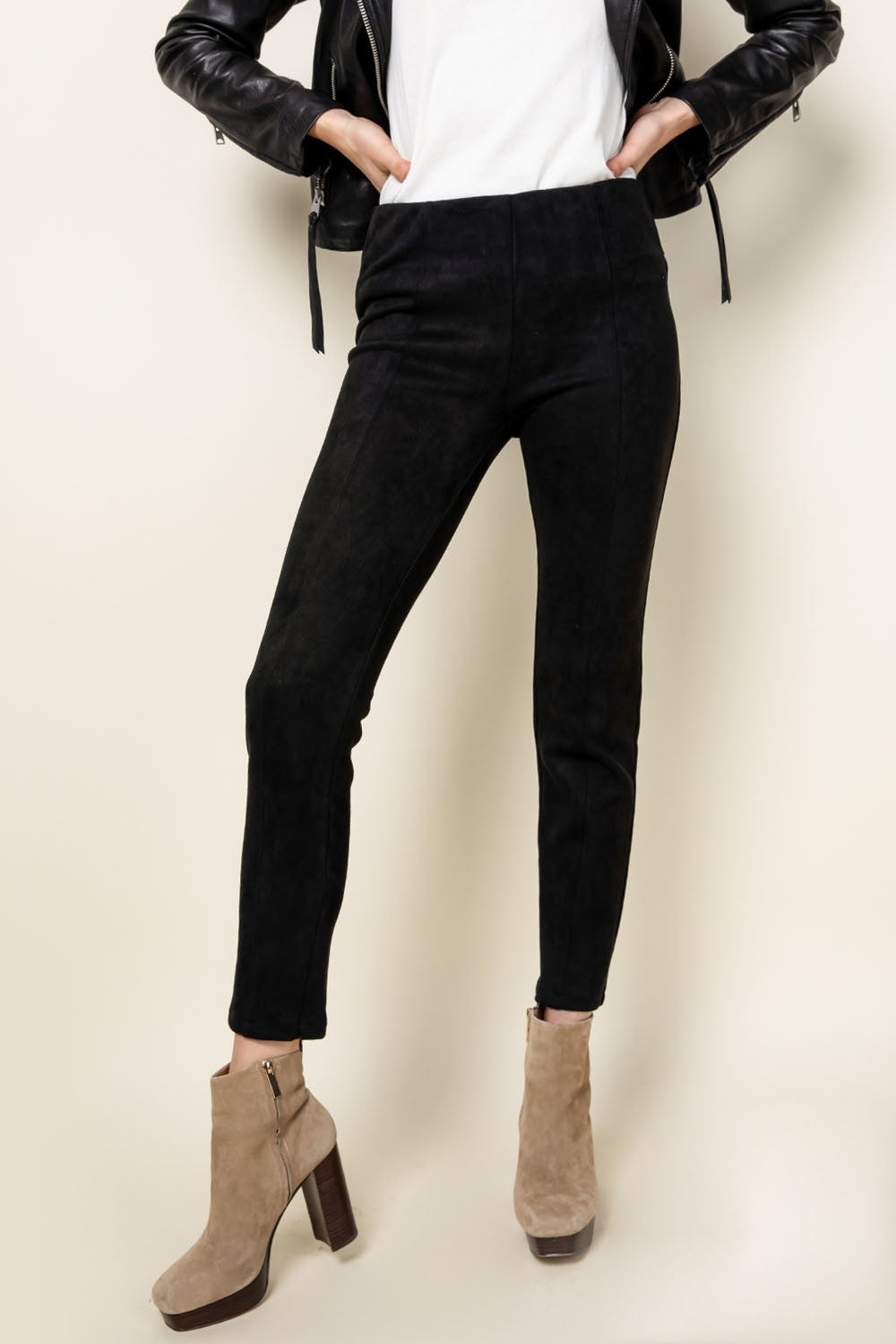 Suede Ankle Zip Pants