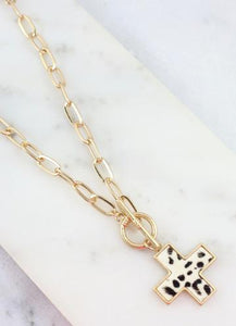 Meg Necklace with Animal Print Charm