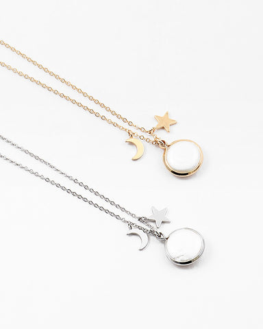 Silver Star and Moon Pearl Necklace