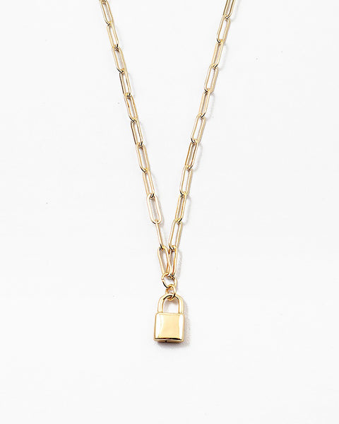 Gold Link Necklace with Lock Pendant