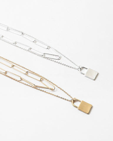 Multi Layer Paperclip and Lock Necklace