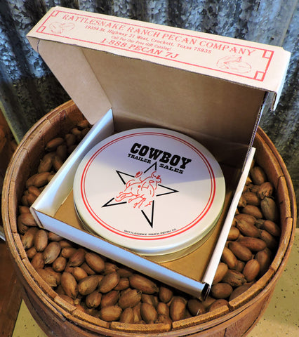 One of the best corporate gifts you can buy! This Texas Gift includes a variety of candied pecans, including: cinnamon pecans, praline pecans, and milk chocolate pecans.