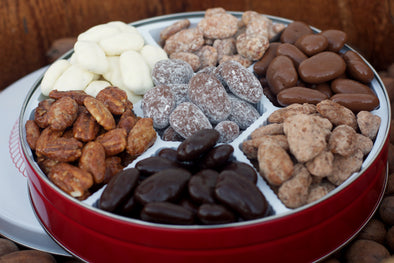 Our 7 Way Pecans Gift Tin includes seven different flavors of pecans. This makes for a great Christmas Gift or Corporate business gift!