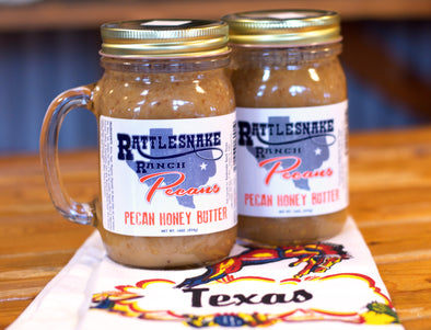 Our pecan honey butter is sweet and mouthwatering. Perfect for drizzling over a waffle or biscuit! Available in 16 ounce jars.