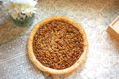 Made-from-scratch Southern Pecan Pie. This pie is shipped in a wooden box to ensure safe delivery. Enjoy for yourself or ship out as a gift! Perfect for Thanksgiving or Christmas celebrations.
