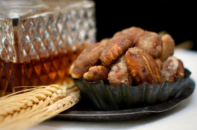 Our Texas Whiskey Pecans are coated in a brown sugar glaze with a hint of bourbon. Sold in 1 pound bags or 10 ounce gift tins.