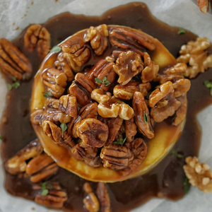 Nutty Caramel Baked Brie