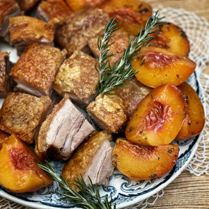 Roast Pork Belly and Balsamic Peaches