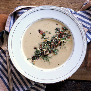 Cream of Fennel Soup with Hazelnut Bacon Gremolata