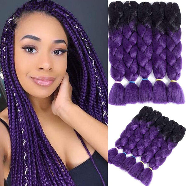 Pre-stretched Braiding Hair Extension Ombre Natural Black Brown