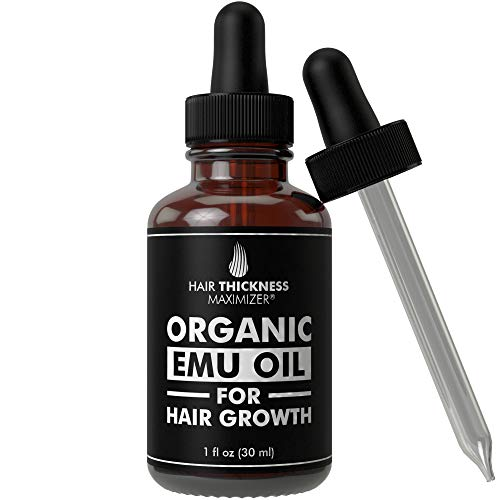 EMU Oil For Hair Growth by Hair Thickness Maximizer. Best Organic, Natural Oils Treatment with Omega 3, 6, 9. Stop Hair Loss Now. Hair Thickening Serum to Replenish Hair Follicles for Men and Women 1oz : Beauty