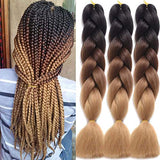 Synthetic Braiding Hair Extensions 24 Inch Ombre Jumbo