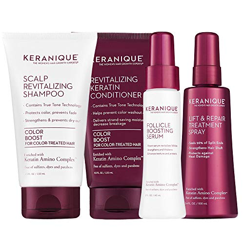 Keranique Thicker Fuller Hair 30 Days Kit with Keratin Shampoo, Conditioner, Follicle Boosting Serum and Lift and Repair Treatment for Color Treated Thinning Hair, Paraben/Sulfates Free : Beauty