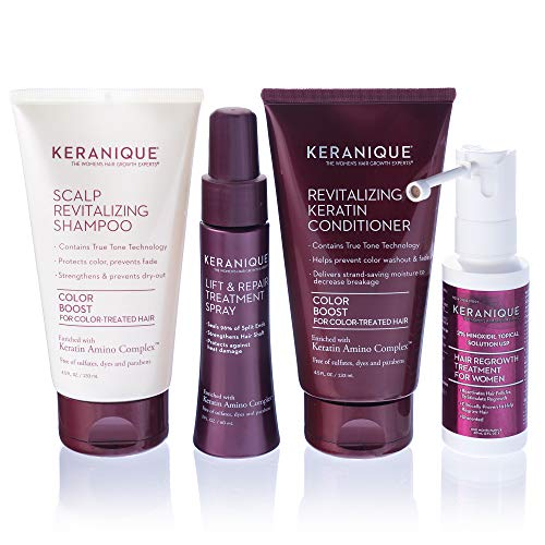 Keranique Hair Regrowth System 30 Days - Keratin Amino Complex - Free of Sulfates Dyes Parabens, Includes Shampoo and Conditioner, Regrowth Treatment & Lift and Repair Spray for Colored Thinning Hair