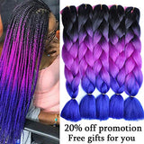 Synthetic Braiding Hair Extensions 24 Inch Ombre