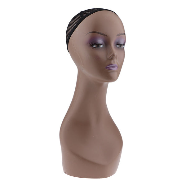 Female Mannequin Manikin Model Head Wig Cap Jewelry Hat Display Holder Stand Coffee Color Wig Stand Training Head