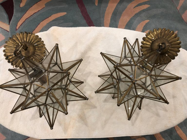 Pair of Mid-Century Style Rustic Sputnick Chandeliers