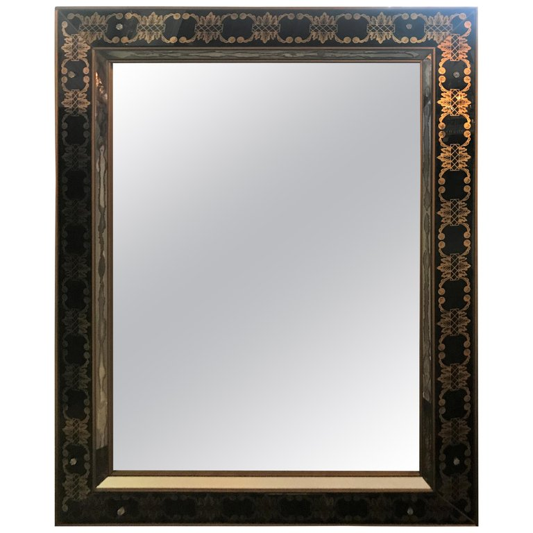 Hollywood Regency Style Églomisé Rectangular Wall / Console Mirror
