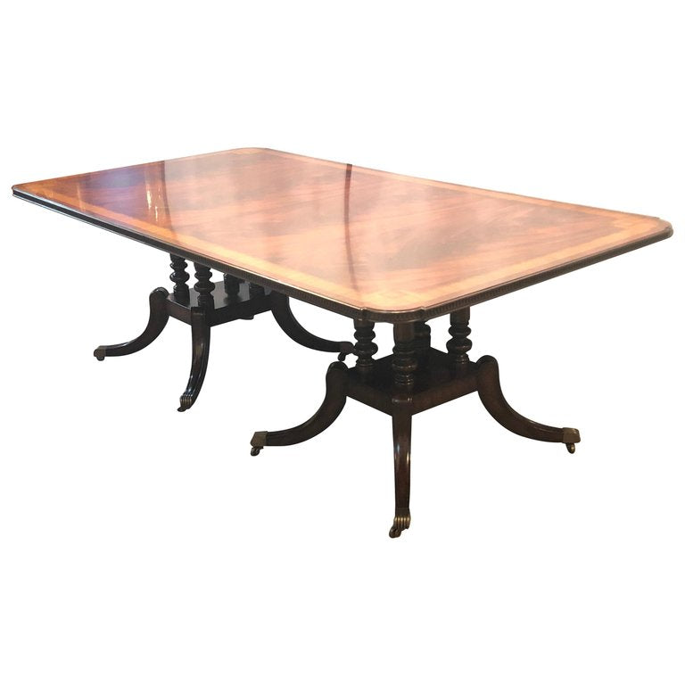 Crotch Mahogany Satinwood Banded Double Pedestal Quad Leg Dining Table
