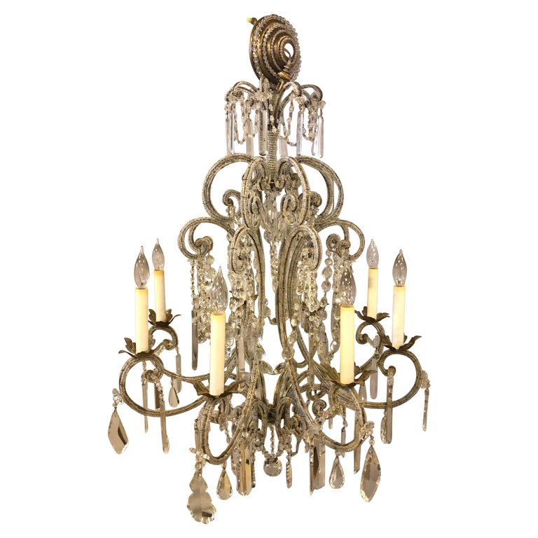 Gilt Metal 8-Light Beaded Frame Having Hanging Crystal Prisms