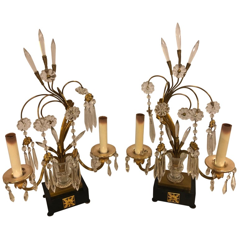Pair of Hollywood Regency Brass Parzinger Style Neoclassical Table Lamps