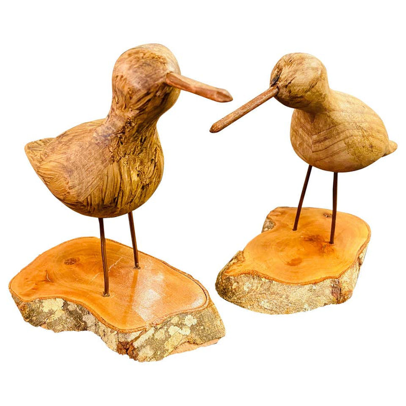 Pair of Hand Carved Wood Birds on a Wooden Base