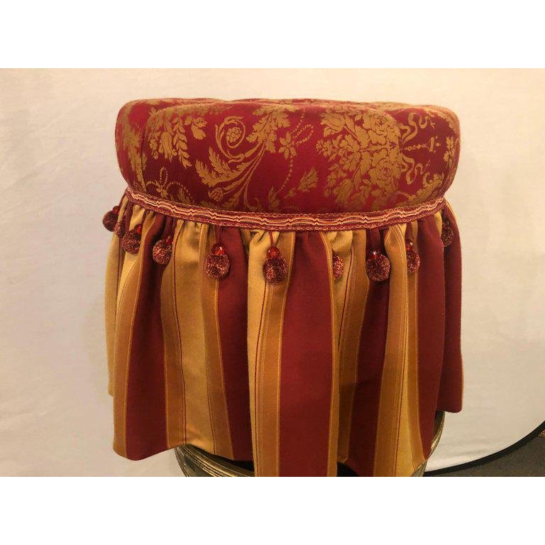 1970s Vintage Deco Upholstered Tufted Red and Gilt Decorated Ottoman