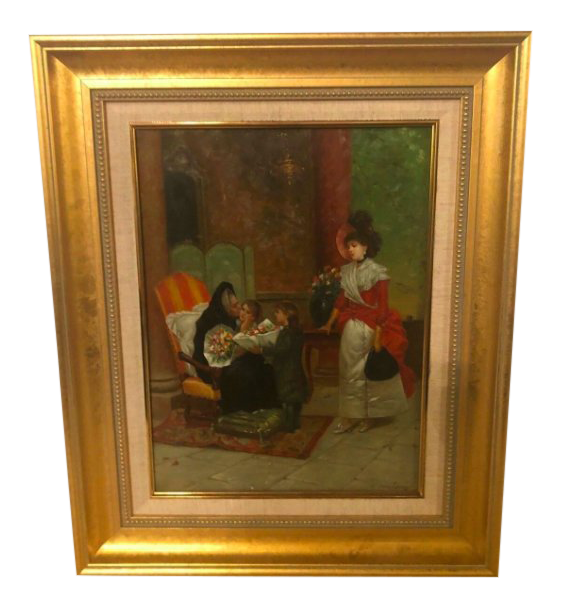 1970s Vintage Framed Grandmother Receiving Flowers Oil on Canvas Painting