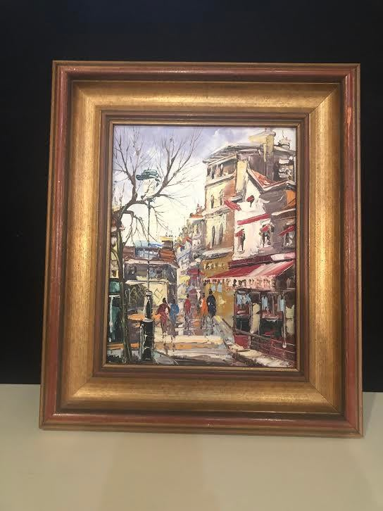1970s Vintage Impressionist Inspired Signed Oil on Canvas Painting