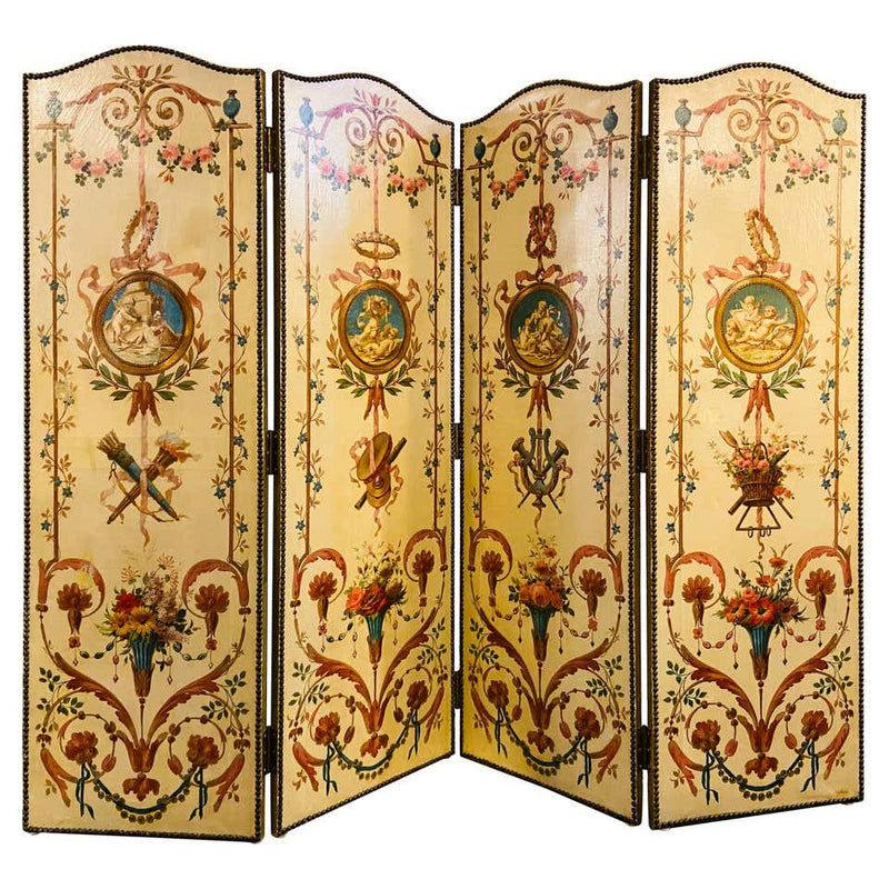 18th Century French Oil Canvas, Hand Painted Four-Panel Room Divider/Screen