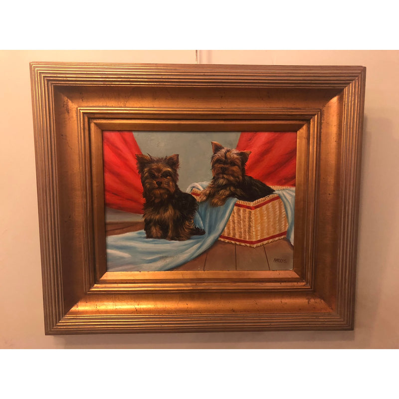 1980s Bichon Bolognese Dogs Oil on Canvas Painting