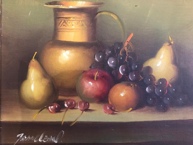 1980s Gilt Framed Oil Masonite Still Life Painting