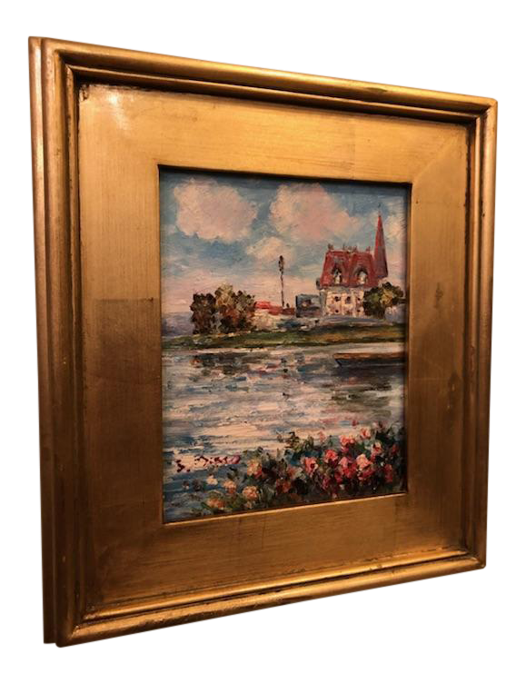 1980s Impressionistic Water Scene Oil on Canvas Painting