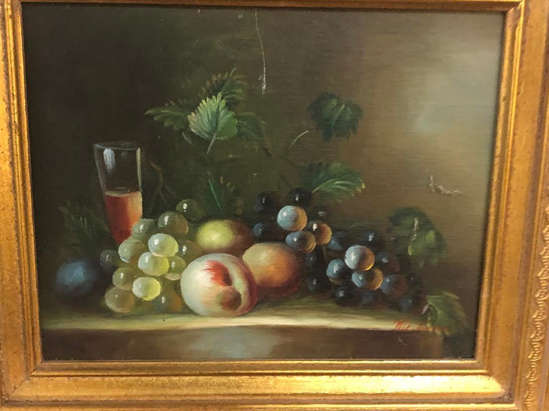 1980s Oil on Canvas Still Life with Fruit Framed Painting