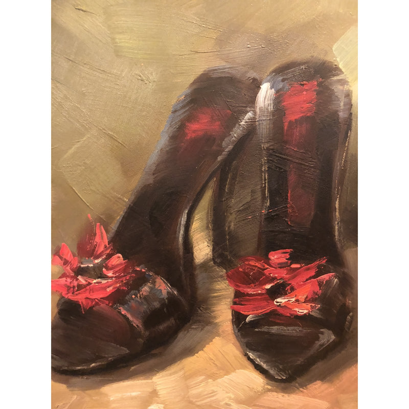 1980s Pair of Shoes Oil on Canvas Painting