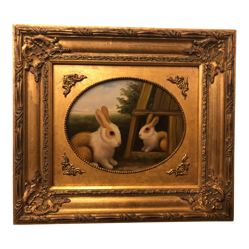 1980s Rabbit Framed Oil on Canvas Painting