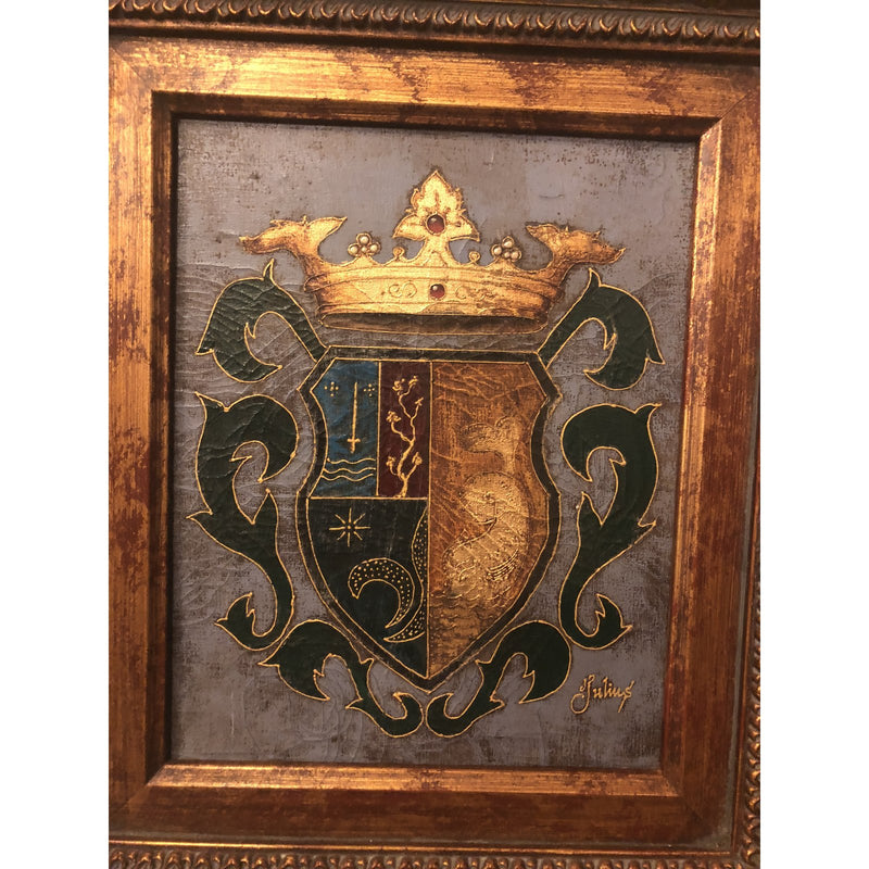 1980s Shield and Crown Oil on Canvas Painting