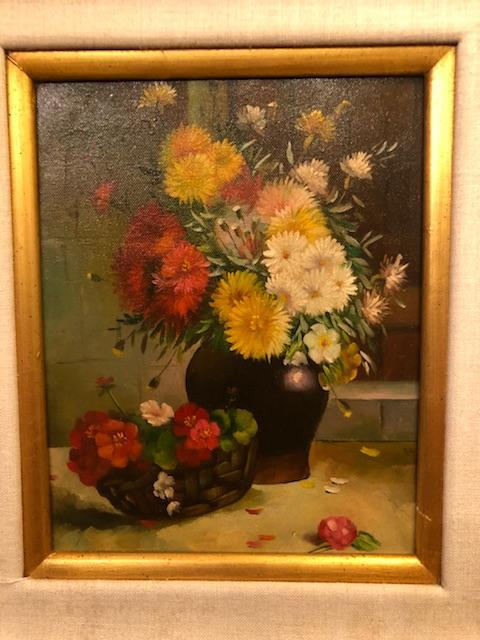 1980s Still Life with Flowers Oil on Canvas Case Framed Painting