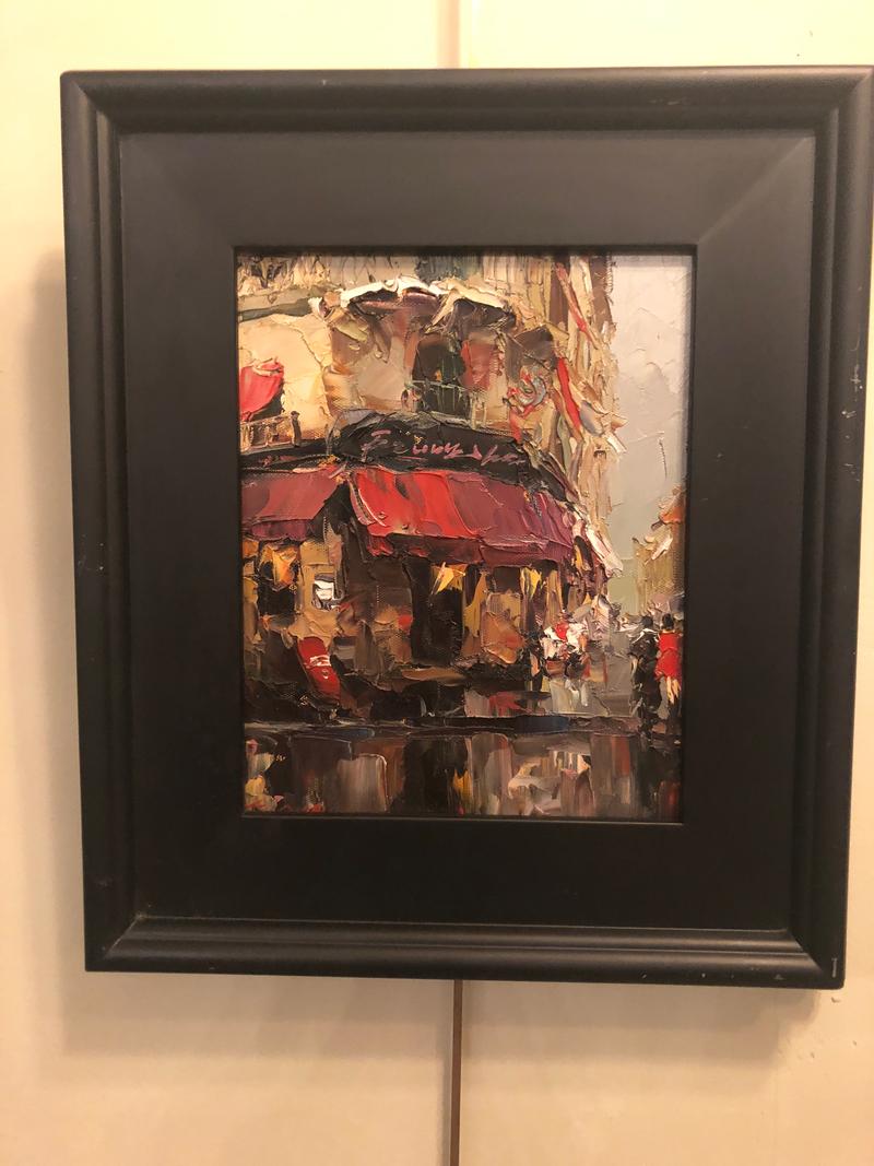 1980s Store Front Street Scene Framed Oil on Canvas Painting
