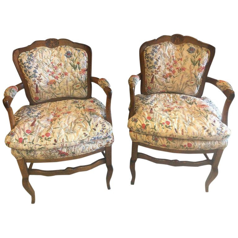 1980s Vintage Country French Boudoir Fauteuil Louis XV Chairs- A Pair