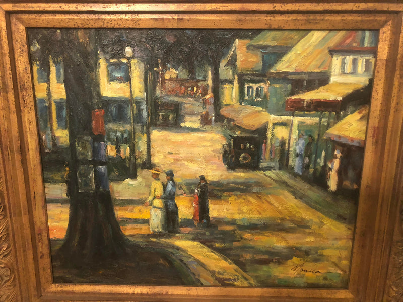 1980s Women Promenading in the City Impressionistic Oil on Canvas Painting