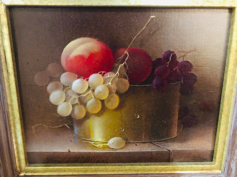 1990s Donald Allan Oil on Masonite Still Life Painting