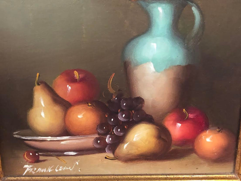 1990s Oil on Canvas Still Life With Fruit Signed Painting