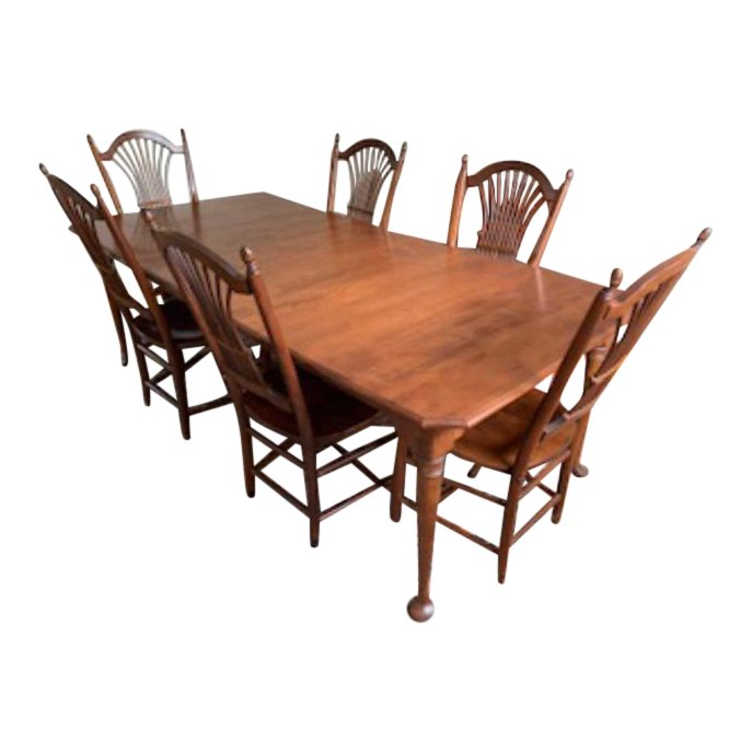 1990s Traditional Nichols and Stone Antique Dining Set - 9 Pieces