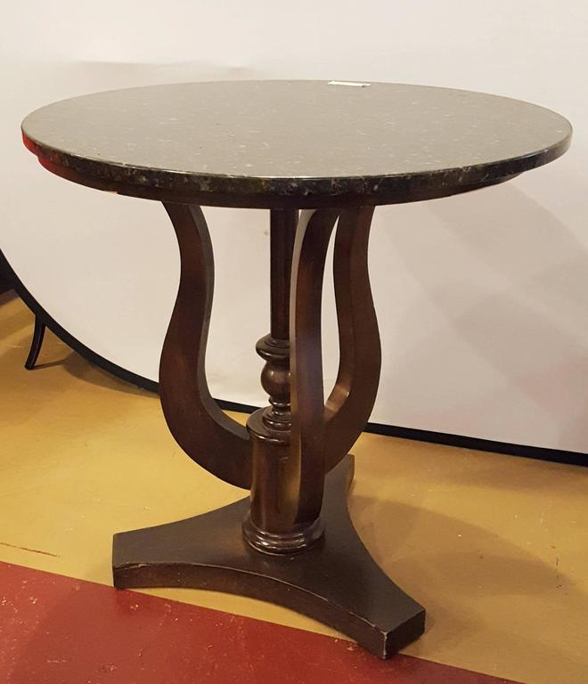 Pair of Black Marble-Top Ebonized Side Or End Tables With Pedestal base