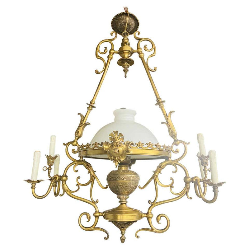 French Victorian Bronze Gas Light Chandelier