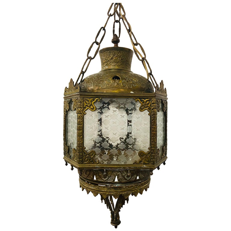 Antique English Gilt Bronze Lantern